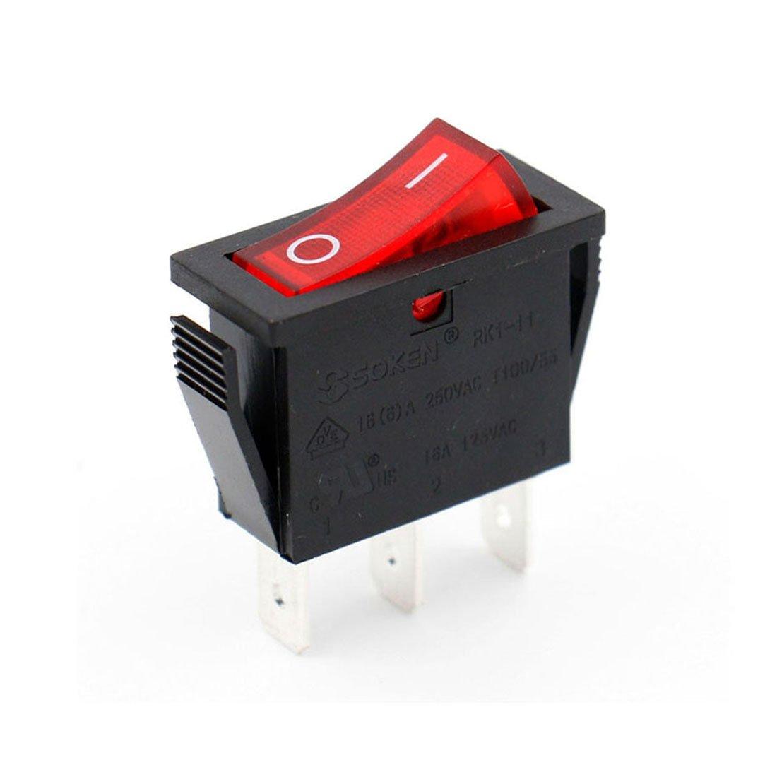 Baomain Snap-in Rocker Switch ON-Off SPST 250V 16A 125V 16A 3 Terminal Red Light UL TüV Certified