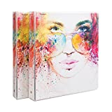Comix Heavy Duty Premium Designer 3 Round Ring Fashion Binder, 1'', Letter Size, 2 Pack,Back to School/Campus Supply, A2134X (Girl)