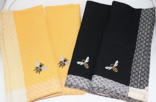 Linen Design French (DII Design Imports Honey Bee Table Linens Simple Bee Embroidered Yellow and Black Cotton Napkins 20-inch by 20-Inch Set of 4)