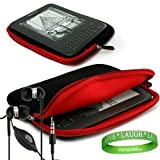 Quality Amazon Kindle 3rd Generation ( Wifi Only , Wifi + 3G ) ( Latest Generation ) Accessories Kit: Jet Black with Ruby Red Carrying Sleeve With Extra Pocket + Kindle Earphones with Microphone + A Live*Laugh*Love Wrist Band!!!