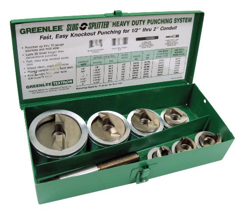 Greenlee 7307 Slug-Splitter Self Centering Knockout Punch Kit for 1/2-Inch to 2-Inch Conduit
