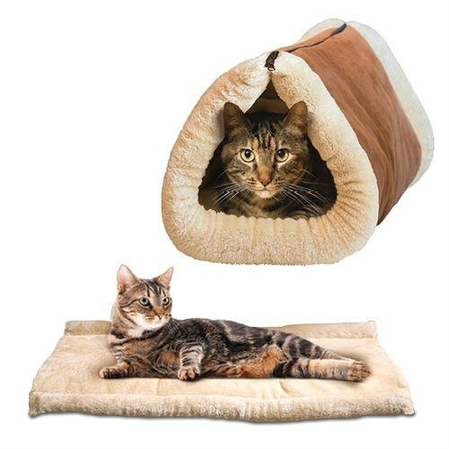 Wesource Kitty Shack 2 in 1 Self-Heating Pet Sleeping Bag Cat Mat Tube Tunnel Bed_Brown
