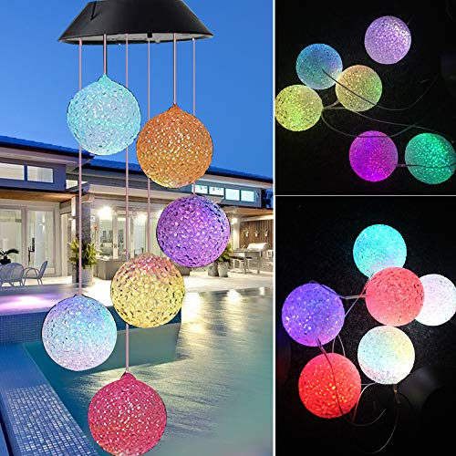 Solar Wind Chime, Mobile Waterproof Color Changing Wind Chimes Spiral Spinner Decorative Romantic Hanging Wind Ball Light for Indoor/Outdoor/Patio/Garden/Balcony Decor