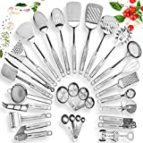 : Stainless Steel Kitchen Utensil Set - 29 Cooking Utensils - Nonstick Kitchen Utensils Cookware Set with Spatula - Best Kitchen Gadgets Kitchen Tool Set Gift by HomeHero