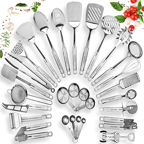 HomeHero Stainless Steel Kitchen Utensil Set - 29 Cooking Utensils - Nonstick Kitchen Utensils Cookware Set with Spatula - Best Kitchen Gadgets Kitchen Tool Set - Utensils Cast Iron
