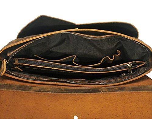 Cuero los Dark único Bolso la de Hombro de Necesidades de Hombres BAO Transversal Brown computadora la la de sección diarias Regalo Perfecto Bolso de Moda Retro Mensajero Bolso brown light de Bolso de wICqEv