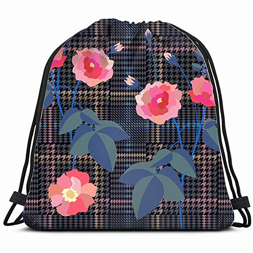 Trendy Checkered Print Embroidered Roses Beauty Fashion Abstract Drawstring Backpack Bag Sackpack Gym Sack Sport Beach Daypack For Girls Men & Women Teen Dance Bag Cycling Hiking Team Training