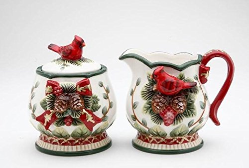 Elegant Evergreen Holiday with Red Cardinal Sugar and Creamer Set by Cg COMINHKPR39464