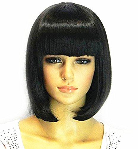 [TLT Short Straight Bob Hair Wigs with Flat Bangs Black Synthetic Heat Resistant Wig Natural As Real Hair] (Black Bob Wig With Bangs)