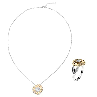 Sayhi Women's Two Tone Silver Floral Ring +Floral Necklace Round Diamond Gold Sunflower Jewelry Anniversary Rings: Clothing