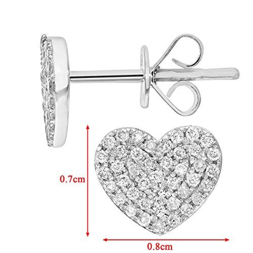 Naava or blanc 18 carats-Diamant 0,25 carat-Boucles d'oreilles clous en forme de coeur