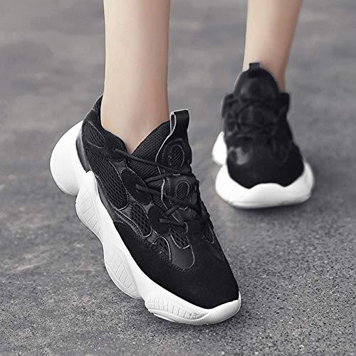 Mujer Otoño para Malla Blanco HWF Zapatillas Zapatillas para Running de Mujer Tamaño Caminar Ocio Zapatos de Color con Deporte Cordones Atlético Casual para Deportivo Zapatos Negro mujer 35 wSZPnxnq7