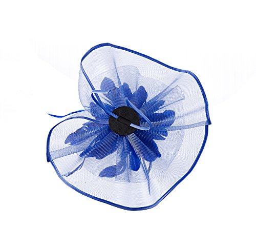 Fascinator Hat,Aiskki Fascinator Headband Feather Mesh Net Hat With Hairband,Tea Party Headwear,Flower Derby Hat with Clip,Kentucky Derby Hats for Women(Blue) by Aiskki (Image #5)