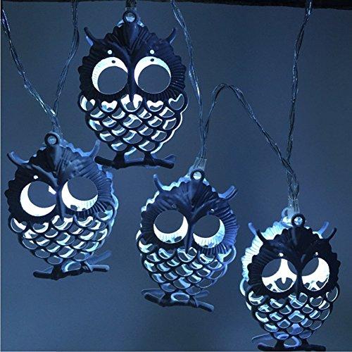 LEDHOLYT 1.2M 10 LEDs Battery Powered Owl Shape String Light for Festival Decoration (White) (Light Break Outdoor 3w)