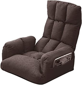 DLLzq Fauteuil De Plancher Pliante avec Accoudoir R/églable Sofa Paresseux Pliant D/éjeuner Chaise De Salon Salon Balcon,Beige