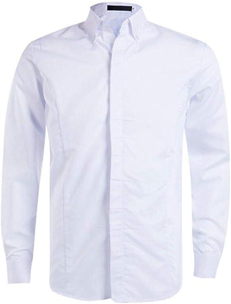Hombre Camisas,Camisas Para Hombres Camisa Formal Con Estilo Con Cuello En V Informal Camisa Formal De Manga Larga Slim Fit Camisa Blanca Con Solapa Tops Hombre Camisa De Ajuste Estándar Para Vestim: