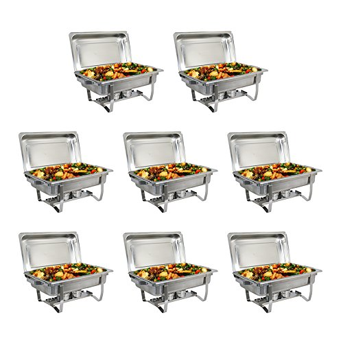 teel Chafer Dish Buffet Set, Full Size Chafing Dish Set w/Water Pan, Food Pan,8 Pack ()