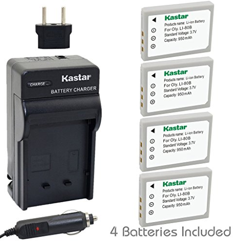 Kastar Battery (4-Pack) and Charger Kit for Olympus Li-80...