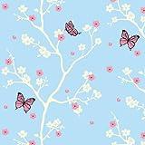 BDF 1CBB Window Film Cherry Blossom Blue Non-Adhesive Static Cling, 14in X 7ft