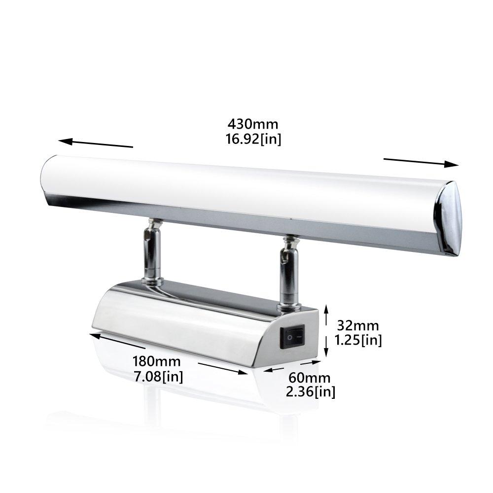 Bonlux Lampe LED 7W 700 Lumen 43cm pour Miroir de Salle de Bain Applique Murale Lumi/ère de Maquillage Cosm/étique Lampe Armoire Toilette IP45 Etanche Anti-bu/ée Angle r/églable Blanc Neutre 4000K