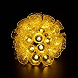 Solar Powered String Fairy Lights 15.7ft(4.8m) 20 LED Outdoor Waterpoof for Garden Patio Lawn Christmas Party Wedding Fence Window Decoreation (Warm White Bell)