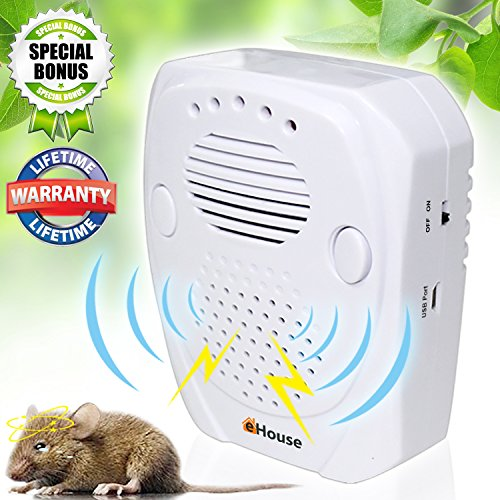eHouse Universal Ultrasonic Pest Repeller Plug-In with Adjustable Frequency Electronic Repellent For Rodents, Mice, Rats, Spiders And Other Bugs & insects + USB port Power For Outdoor Use