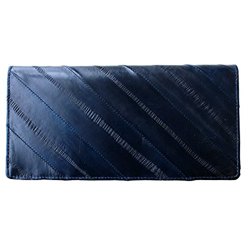 Eel Skin (Rainbow Women's Genuine Eel Skin Leather Diagonal Slim Wallet Credit Cards Coin Purse (Dark navy))