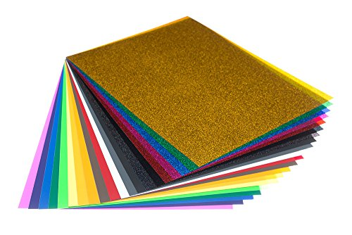 Heat Transfer Vinyl Sheets - Pack of 20 Brightly Colored Iron On HTV Sheets (8.5