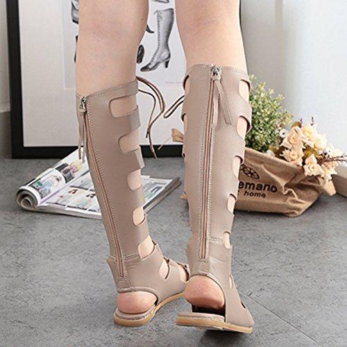 sandalias color RUGAI largo UE vendas ahuecó Roma sandalias tubo Apricot fondo botas mujer de Señoras de plano 7RCa7wpx