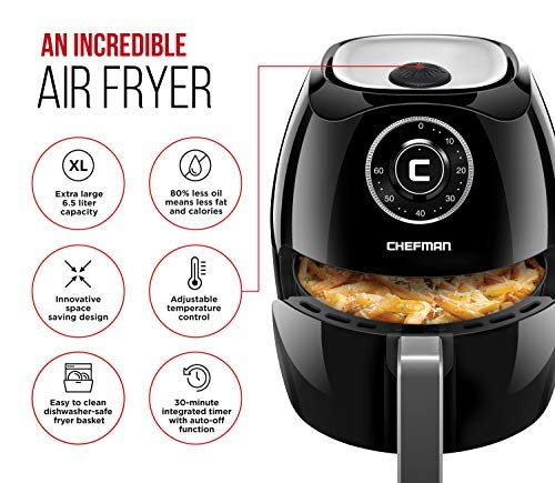 Chefman 6.8 Quart Air Fryer Oven with Space Saving Flat Basket, Oil Free Hot Airfryer with 60 Minute Timer Auto Shut Off, Dishwasher Safe Parts, BPA-Free, Family Size, X-Large, Black