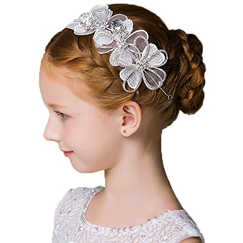 - DreamYo Headdress Flowers Crystal Pearls Rhinestones Beading Beautiful Girls Hair Accessories Princess Hair Jewelry Ceremony performce Prom Party Wedding 9 Styles (by)