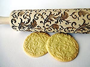 Rolling pin ROYAL. Wooden embossing rolling pin with classic flowers. Embossed cookies. Pottery. Birthday gift. Gift for mother. Bridal shower gift