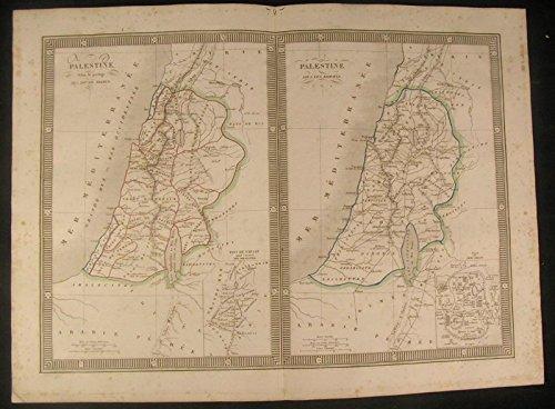 (Palestine Roman Empire & Hebrew 1834 antique engraved outline hand color)