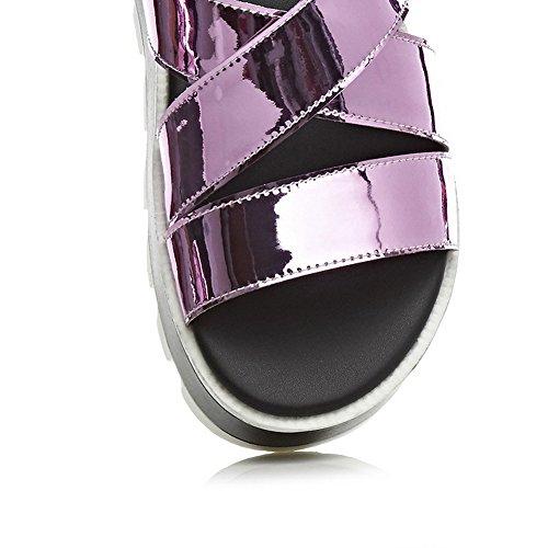 Amoonyfashion Femmes Chaton Talons En Cuir Verni Assorti Couleur Boucle Ouvert Orteil Sandales Violet