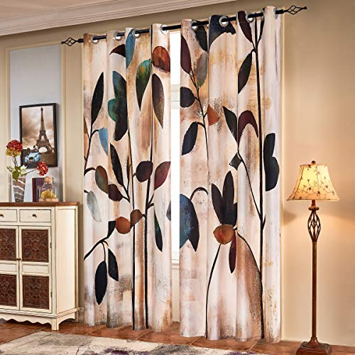 subrtex Printed Curtains Blackout for Bedroom Living Room Kids Room Dining Room Valance Colorful Window Drapes 2 Panel Set (52'' x 95'', Brown) (Drapes Living Valances And Room)