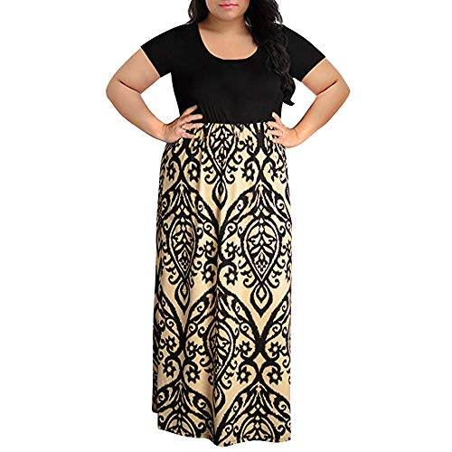- iLUGU Women's 3/4 Sleeve Floral Print Casual Long Maxi Dress with Pockets