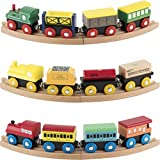 Wooden Train Set 12 PCS - Train Toys Magnetic Set Includes 3 Engines - Toy Train Sets For Kids Toddler Boys And Girls - Compatible With Thomas Train Set Tracks And Major Brands - Original - By Play22