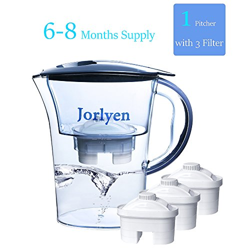 Jorlyen Water Filter Pitcher, BPA free With 3 Filters(6 Months), Slim Pitcher Fits Easily in any fridges (Play Water Pitcher compare prices)