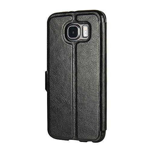 Funda Samsung Galaxy J3 (2016), MTRONX Cover Carcasa Case Caso Ultra Folio Flip PU Cuero Suave TPU Delgado Piel con Cierre Magnetico Soporte Estante para Samsung Galaxy J3 (2016) - Azul(MS-BU) Negro