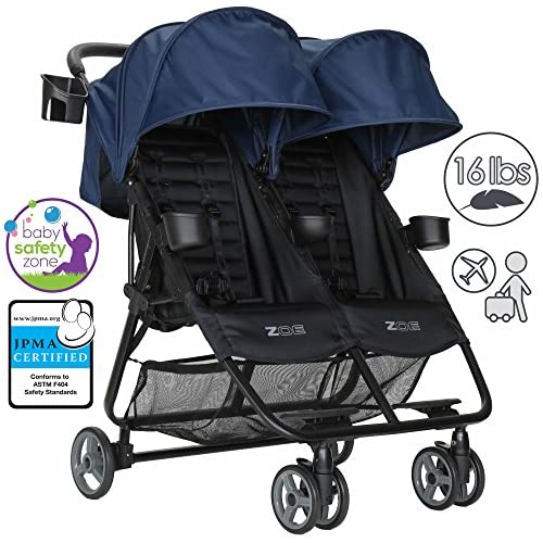 ZOE XL2 BEST Double Xtra Lightweight Twin Travel & Everyday Umbrella Stroller System (London Navy)