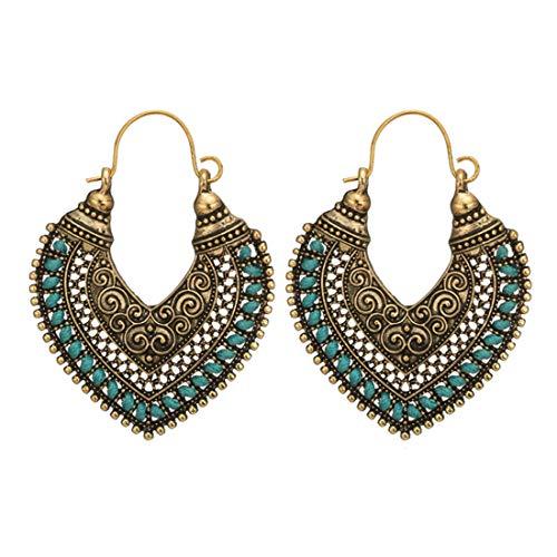 (UINKE Vintage Bohemian Beaded Hollow Heart Dangle Drop Earrings Retro Tribal Tibetan Gypsy Ethnic Earrings,Green)