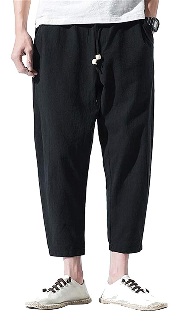 DFBB Mens Chinese Style Elastic Waist Ankle Solid Color Cotton Linen Lounge Pants Trousers