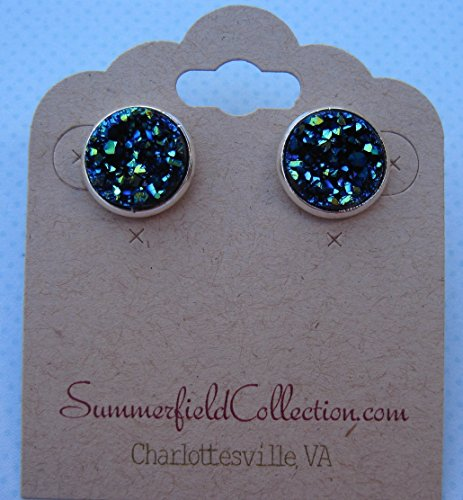 Silver-tone Blue Faux Druzy Stone Stud Earrings 12mm