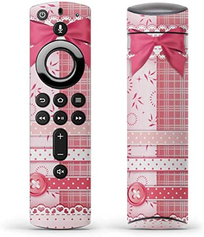 igsticker Fire TV Stick 第2世代 専用 リモコン用 全面 スキンシール フル 背面 側面 正面 ステッカー ケース 保護シール 005230 ラブリー リボン ピンク ガーリー