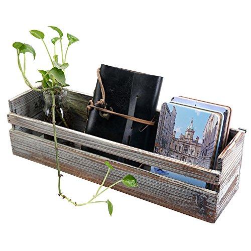 MyGift Wall Mounted Decorative Torched Wood Shelf, Storage Box Organizer, Dark Brown - Decorative Wall Boxes
