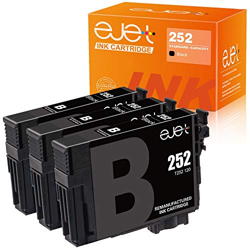 ejet Remanufactured Ink Cartridge Replacement for Epson 252XL 252 XL T252XL to use with Workforce WF-7710 WF-7720 WF-3620 WF-3640 WF-7610 WF-7620 WF-3630 Printer (3 Black)