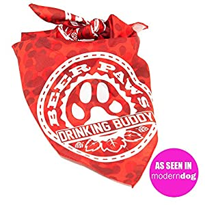 BEER PAWS Red Dog Bandana, Paw Print Camo Pattern – Red Bandana for Dogs & People, Match with Your Drinking Buddy in a Paw Print Bandana – Dude & Dog Accessories for Large Dogs, A Kerchief for Dogs