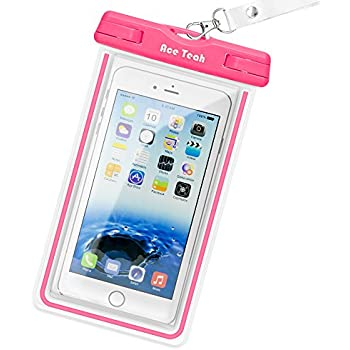 Waterproof Case, Ace Teah Clear Universal Waterproof Case, Pouch Perfect Dry Bag / Durable Snowproof Dirtproof Protection for iPhone 8 7 6 6s Plus X, Samsung Galaxy s4 s5 s6 S7 edge, Note 4 5 - Pink