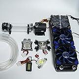 Glowry® Water Cooling DIY Kit 360mm Radiator 220mm Cylinder Reservoir Pump Flow Meter Tubing Universal Intel AMD CPU GPU Blocks Blue LED