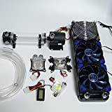 Glowry Water Liquid Cooling DIY Kit System for PC Computer Desktop, Including 360mm Radiator 220mm Cylinder Reservoir Pump Flow Meter Tubing Universal Intel AMD CPU GPU Blocks Blue LED